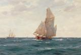 A Ketch and a Brigantine off the Coast by Thomas J Somerscales