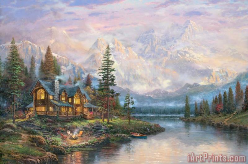 Cathedral Mountain Lodge painting - Thomas Kinkade Cathedral Mountain Lodge Art Print