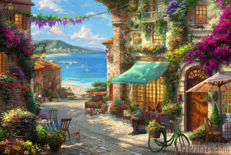 Thomas Kinkade Italian Cafe Painting Italian Cafe Print