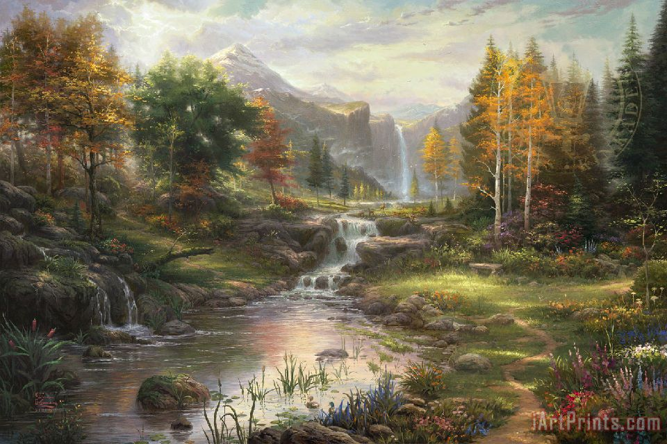 Reflections of Family painting - Thomas Kinkade Reflections of Family Art Print