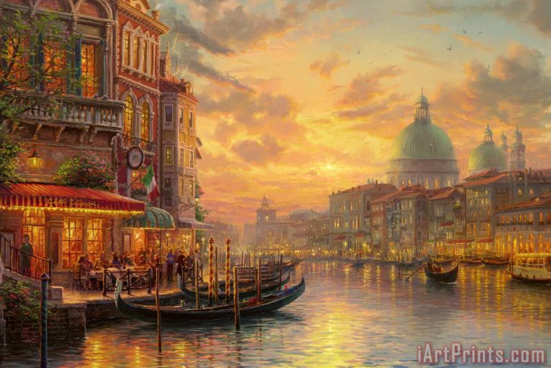 Venetian Cafe painting - Thomas Kinkade Venetian Cafe Art Print