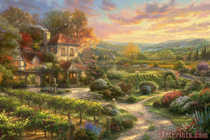 Wine Country Living painting - Thomas Kinkade Wine Country Living Art Print
