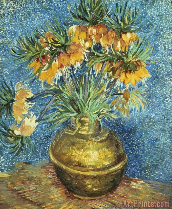 Vincent Van Gogh Crown Imperial Fritillaries in a Copper Vase Art Print