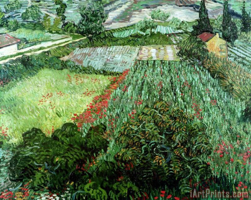 Field with Poppies painting - Vincent Van Gogh Field with Poppies Art Print