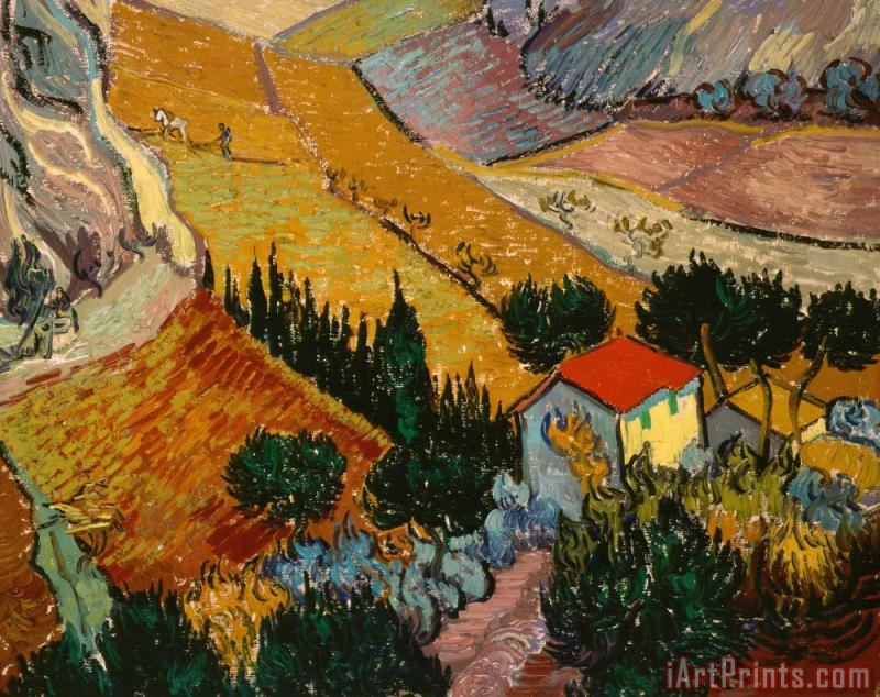 Landscape with House and Ploughman painting - Vincent Van Gogh Landscape with House and Ploughman Art Print