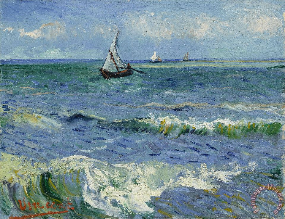 The Sea at Les Saintes Maries De La Mer painting - Vincent van Gogh The Sea at Les Saintes Maries De La Mer Art Print