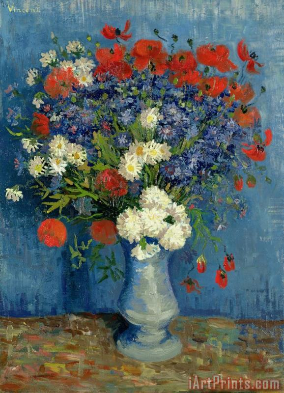 Vase with Cornflowers and Poppies painting - Vincent van Gogh Vase with Cornflowers and Poppies Art Print