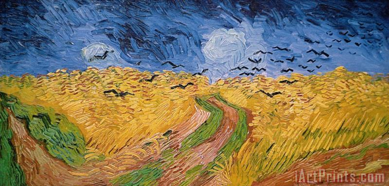 Wheatfield with Crows painting - Vincent van Gogh Wheatfield with Crows Art Print