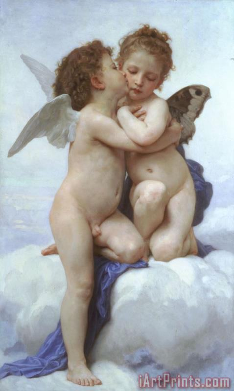 First Kiss painting - William Adolphe Bouguereau First Kiss Art Print