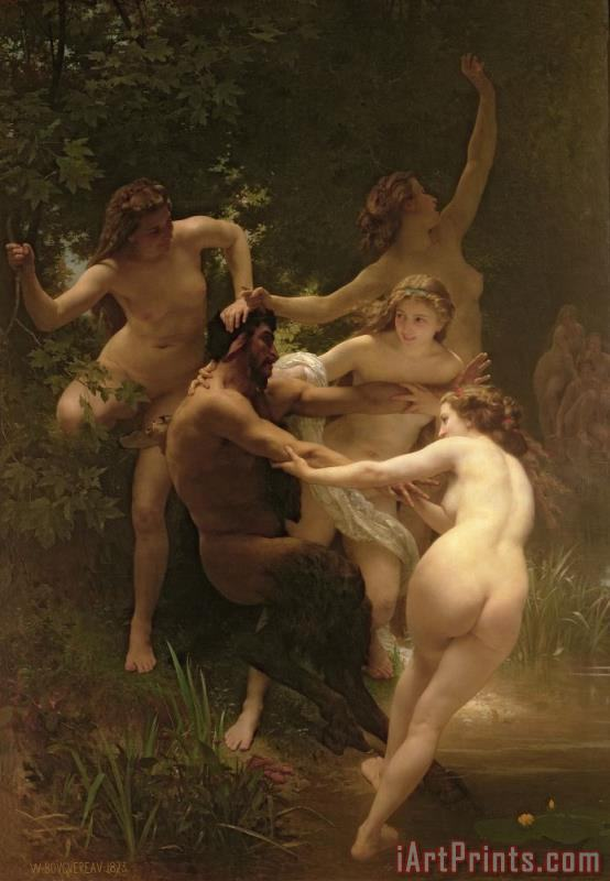 William Adolphe Bouguereau Nymphs and Satyr Art Print