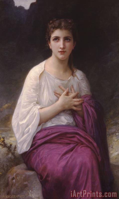 Psyche painting - William Adolphe Bouguereau Psyche Art Print