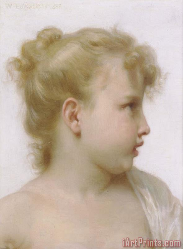 Study Head of a Little Girl painting - William Adolphe Bouguereau Study Head of a Little Girl Art Print