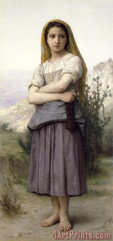 The Knitter painting - William Adolphe Bouguereau The Knitter Art Print