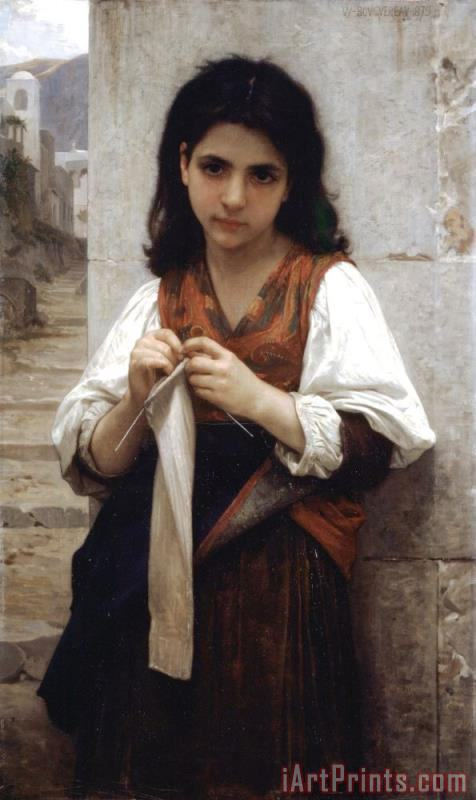 The Little Knitter painting - William Adolphe Bouguereau The Little Knitter Art Print