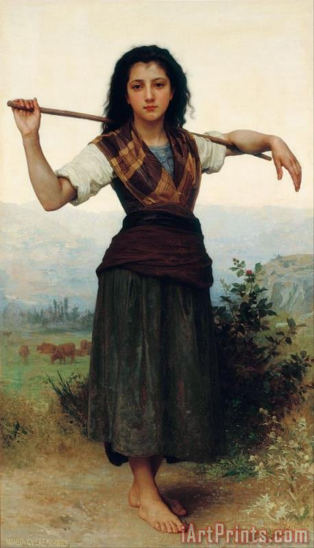 William Adolphe Bouguereau The Little Shepherdess Art Print