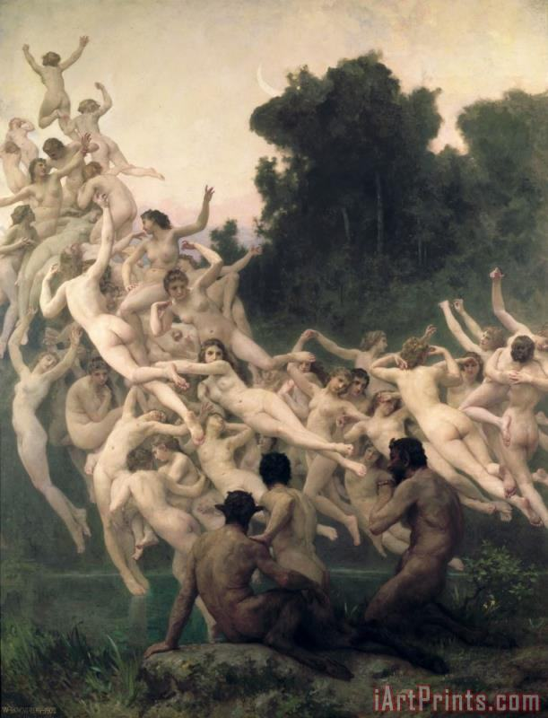 The Oreads painting - William Adolphe Bouguereau The Oreads Art Print