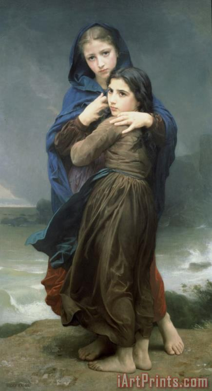 The Storm painting - William Adolphe Bouguereau The Storm Art Print