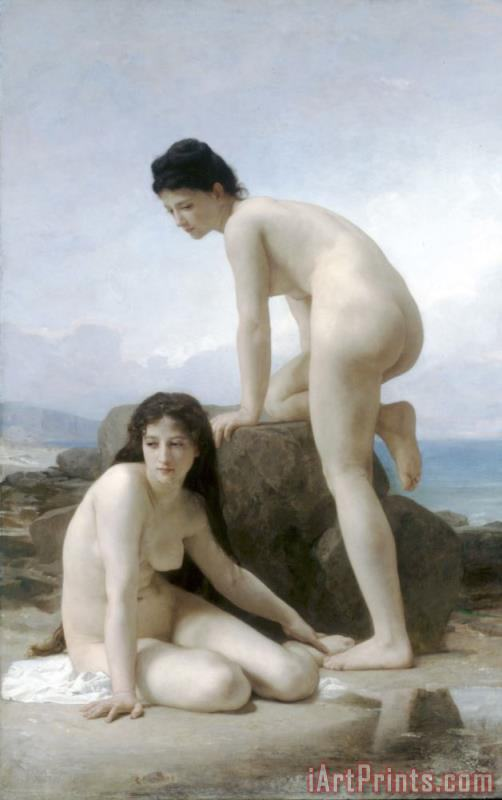 The Two Bathers painting - William Adolphe Bouguereau The Two Bathers Art Print