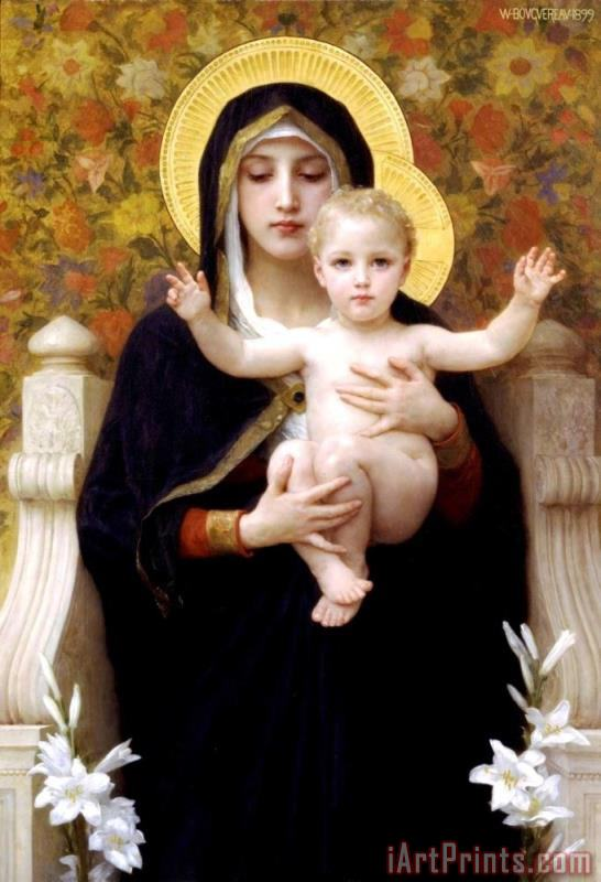 The Virgin of The Lilies painting - William Adolphe Bouguereau The Virgin of The Lilies Art Print