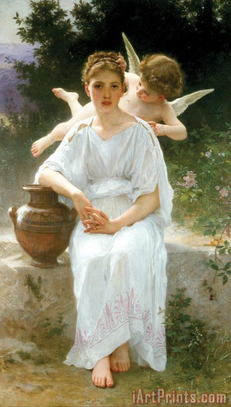 William Adolphe Bouguereau Whisperings of Love Art Print